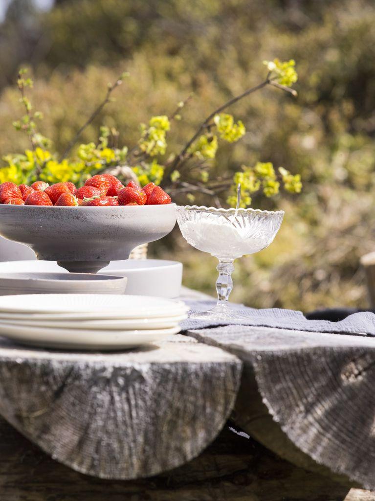 Med enkle møbler og lave skuldre nyter vi sola og en piknik i hagen. Pledd og skinnfeller skaper hyggen, og vi savner ikke hagemøblene.