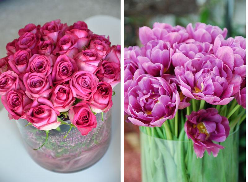 løkblomster som tulipaner kan snittes tvers over, mens andre snittblomster må skråsnittes