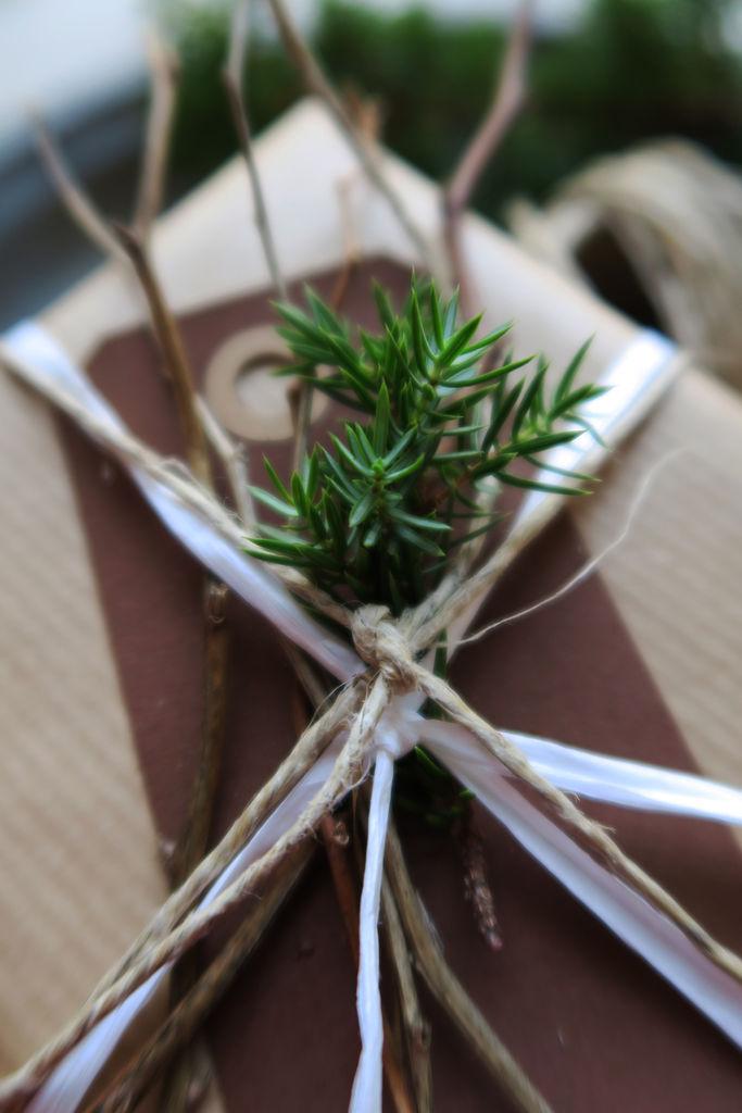 Tips til hvilke naturmaterialer du kan pynte julegavene med.